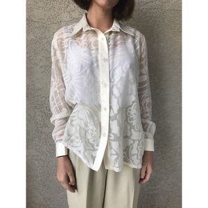 [vintage] sheer floral white blouse